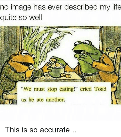 """Toade: no image has ever described my life  quite so well  """"We must stop eating!"""" cried Toad  as he ate another. This is so accurate..."""