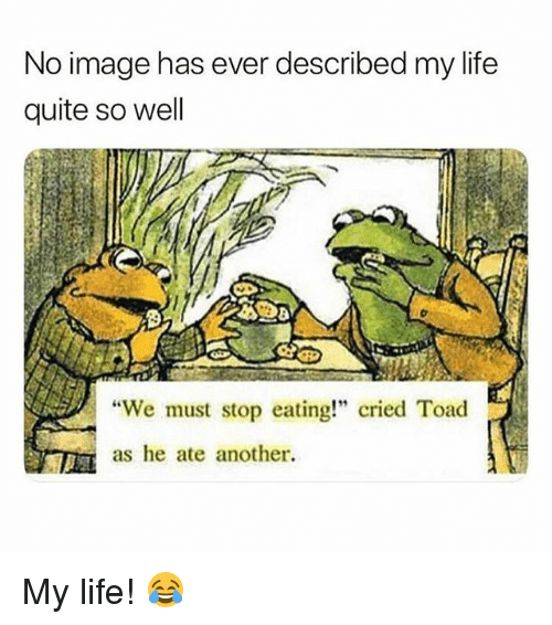 """Life, Memes, and Image: No image has ever described my life  quite so well  We must stop eating!"""" cried Toad  as he ate another. My life! 😂"""