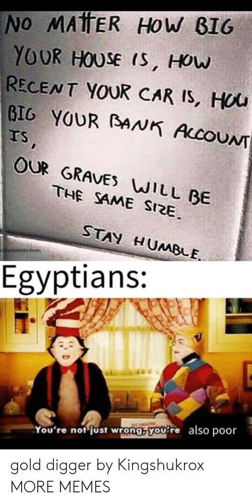 Dank, Gold Digger, and Memes: No MATTER HOw BIG  YOUR HOUSE IS, HOw  RECENT YOUR CAR IS, HUU  GIG YOUR BANK AccoUN  Ts,  OUR GRAVES WILL BE  THE SAME SIZE  STAN HUMBLE  kaiedaddybirdman  Egyptians:  You're not just wrong, you re also poor gold digger by Kingshukrox MORE MEMES