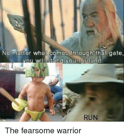Run, Gate, and Warrior: No matter what comes through that gate  ou willl stand your oround  RUN The fearsome warrior