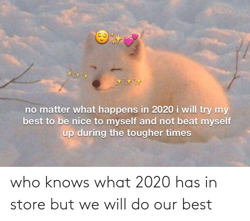 I Will: no matter what happens in 2020 i will try my  best to be nice to myself and not beat myself  up during the tougher times who knows what 2020 has in store but we will do our best