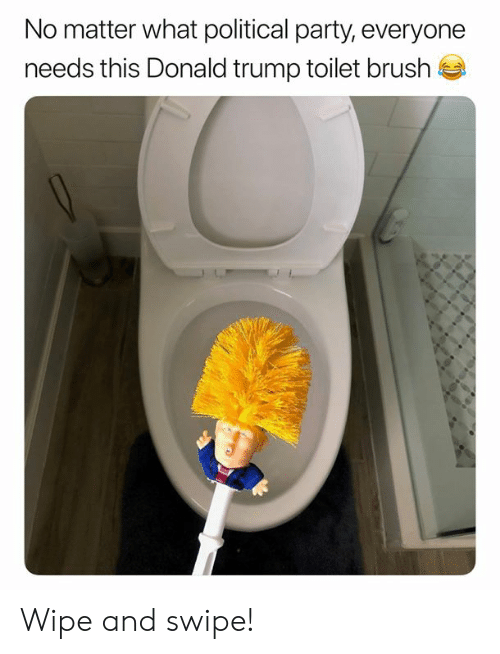 Donald Trump, Memes, and Party: No matter what political party, everyone  needs this Donald trump toilet brush Wipe and swipe!