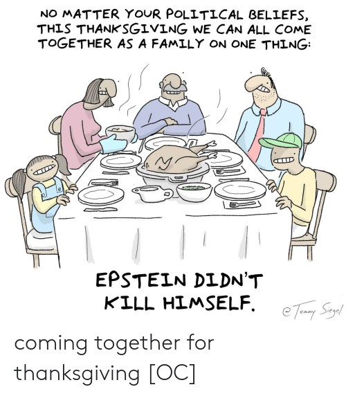 Thanksgiving: NO MATTER YOUR POLITICAL BELIEFS  THIS THANKSGIVING WE CAN ALL COME  TOGETHER AS A FAMILY ON ONE THING  EPSTEIN DIDN'T  KILL HIMSELF coming together for thanksgiving [OC]