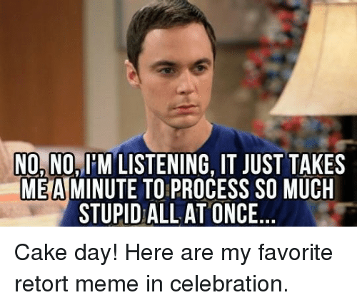 Meme, Cake, and Once: NO,NO,I'M LISTENING, IT JUST TAKES  MEAMINUTE TO PROCESS SO MUCH  STUPID ALLAT ONCE Cake day! Here are my favorite retort meme in celebration.