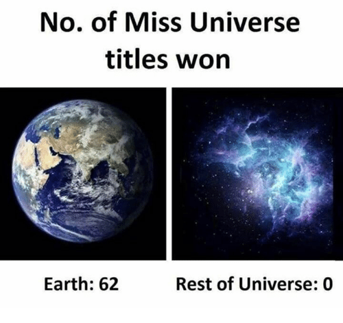 Miss Universe: No. of Miss Universe  titles won  Earth: 62  Rest of Universe: 0