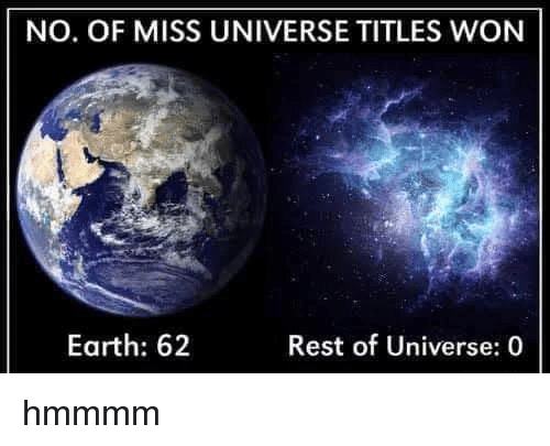 Miss Universe: NO. OF MISS UNIVERSE TITLES WON  Earth: 62  Rest of Universe: 0 hmmmm