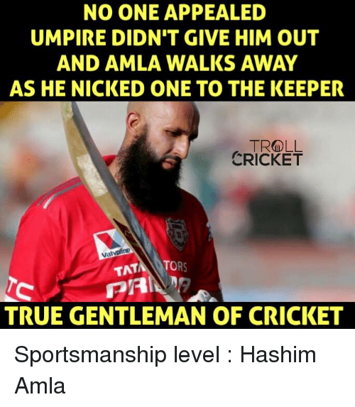 Memes, Troll, and True: NO ONE APPEALED  UMPIRE DIDN'T GIVE HIM OUT  AND AMLA WALKS AWAY  AS HE NICKED ONE TO THE KEEPER  TROLL  CRICKET  Valvoline  TAT  TO  TRUE GENTLEMAN OF CRICKET Sportsmanship level : Hashim Amla