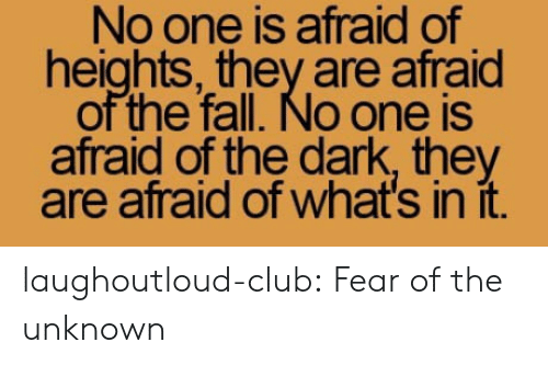 Club, Fall, and Tumblr: No one is afraid of  heights, they are afraid  of the fall. No one is  afraid of the dark, they  are afraid of what's in it. laughoutloud-club:  Fear of the unknown