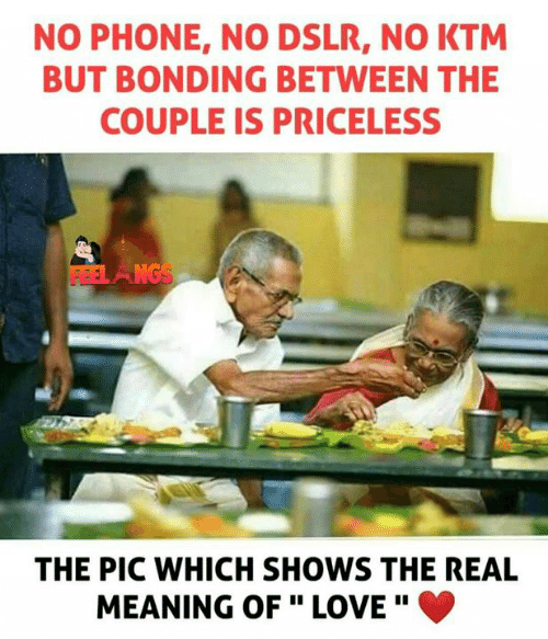 "Love, Memes, and Phone: NO PHONE, NO DSLR, NO KTM  BUT BONDING BETWEEN THE  COUPLE IS PRICELESS  THE PIC WHICH SHOWS THE REAL  MEANING OF "" LOVE"" 。"