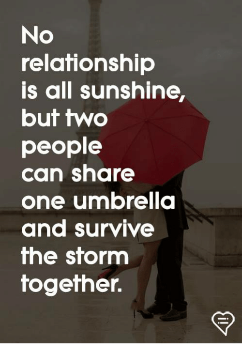 Memes, 🤖, and Storm: No  relationship  is all sunshine,  but two  people  can share  one umbrella  and survive  he storm  together.