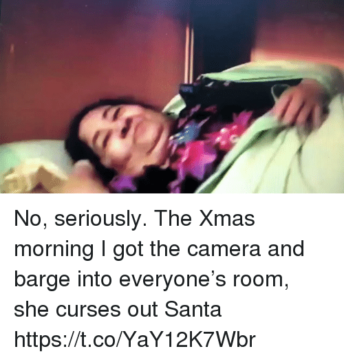 Memes, Camera, and Santa: No, seriously. The Xmas morning I got the camera and barge into everyone's room, she curses out Santa https://t.co/YaY12K7Wbr