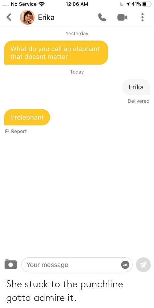 Elephant: No Service  1 41% O  12:06 AM  Erika  Yesterday  What do you call an elephant  that doesnt matter  Today  Erika  Delivered  Irrelephant  P Report  Your message  GIF She stuck to the punchline gotta admire it.