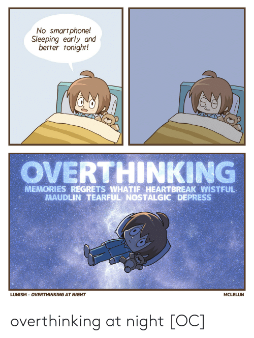 Sleeping, Smartphone, and Memories: No smartphone!  Sleeping early and  better tonighr!  OVERTHINKING  MEMORIES REGRETS WHATIF HEARTBREAK WISTFUL  MAUDLIN TEARFUL NOSTALGIC DEPRESS  LUNISM OVERTHINKING AT NIGHT  MCLELUN overthinking at night [OC]