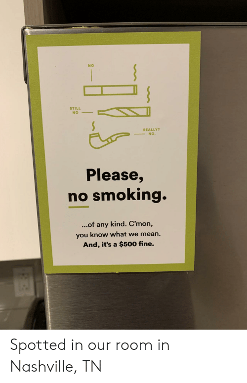 Smoking, Mean, and Nashville: NO  STILL  NO  REALLY?  NO.  Please,  no smoking.  kind. C'mon,  ...of  any  you know what we mean.  And, it's a $500 fine. Spotted in our room in Nashville, TN