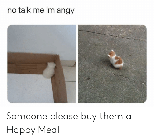 Happy, Them, and Happy Meal: no talk me im angy Someone please buy them a Happy Meal