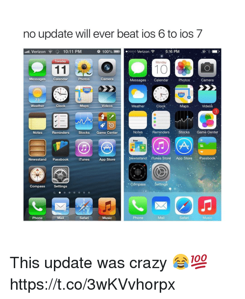 7/11, Anaconda, and Clock: no update will ever beat ios 6 to ios 7  .11. Verizon  10:11 PM  100% Li i  ooo Verizon-  5:16 PM  Tuesday  10  Messages Calendar  Photos  Camera  Messages Calendar  PhotosCamera  12  280  10  10  280  73°  Weather  Clock  Maps  Videos  Weather  Clock  MapsVideos  3  Notes  Reminders  StocksGame Center  Notes .. Reminders  StocksGame Genter  ART  SPORTS  Newsstand Passbook iTunesApp Store  Newsstand Tunes Store App Store Passbook  Settings  Settings  Phone  MailSafari  Music  Phone  Mail  Safari  Music This update was crazy 😂💯 https://t.co/3wKVvhorpx