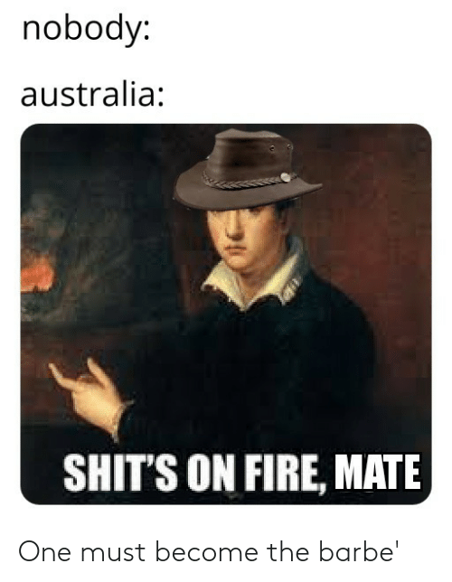 Must: nobody:  australia:  SHIT'S ON FIRE, MATE One must become the barbe'