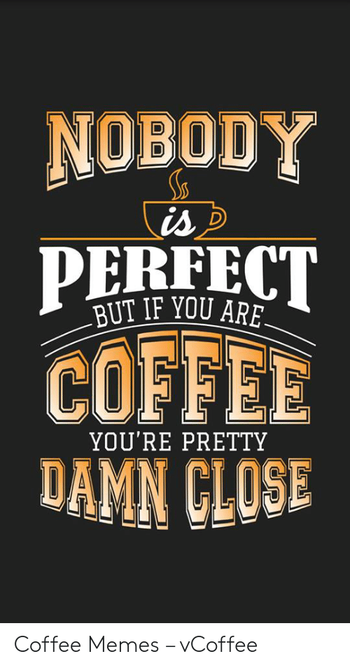 Vcoffee: NOBODY  BUT IF YOU ARE  COFFEE  DAMN CLOSE  YOU'RE PRETTY Coffee Memes – vCoffee