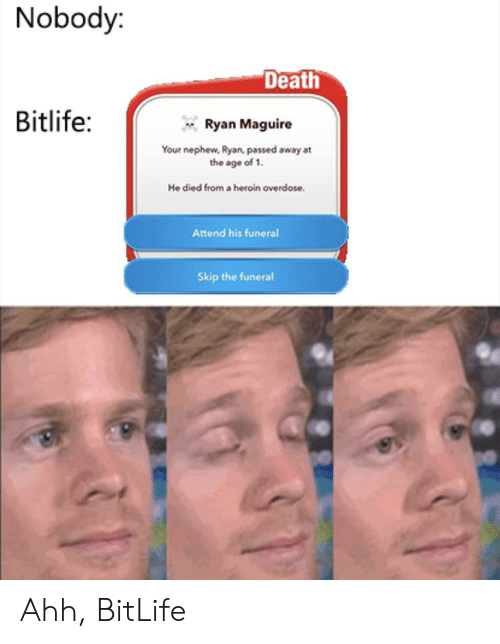 Heroin, Death, and Funeral: Nobody:  Death  Bitlife:  Ryan Maguire  Your nephew, Ryan, passed away at  the age of 1.  He died from a heroin overdose.  Attend his funeral  Skip the funeral Ahh, BitLife