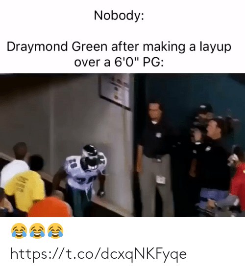 "Draymond Green: Nobody:  Draymond Green after making a layup  over a 6'0"" PG: 😂😂😂 https://t.co/dcxqNKFyqe"