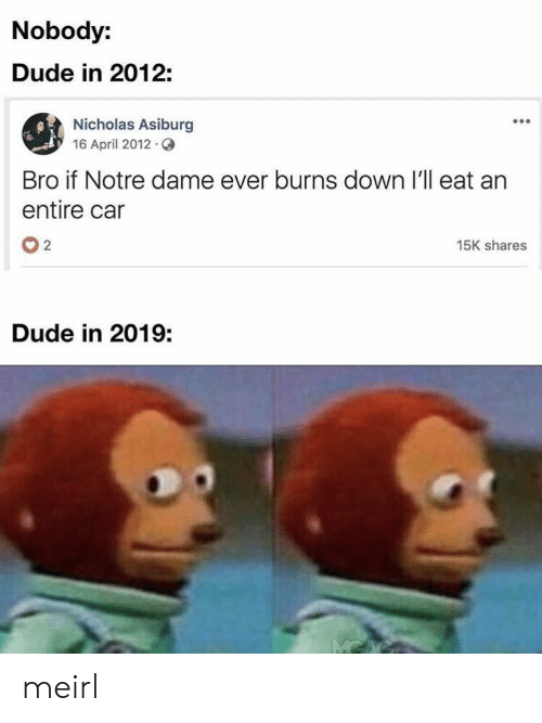 Dude, Notre Dame, and April: Nobody:  Dude in 2012:  Nicholas Asiburg  16 April 2012.  Bro if Notre dame ever burns down I'll eat an  entire car  02  15K shares  Dude in 2019: meirl