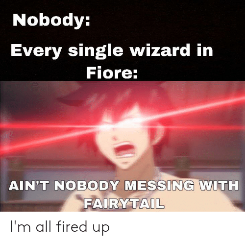 fairytail: Nobody:  Every single wizard in  Fiore:  AIN'T NOBODY MESSING WITH  FAIRYTAIL I'm all fired up