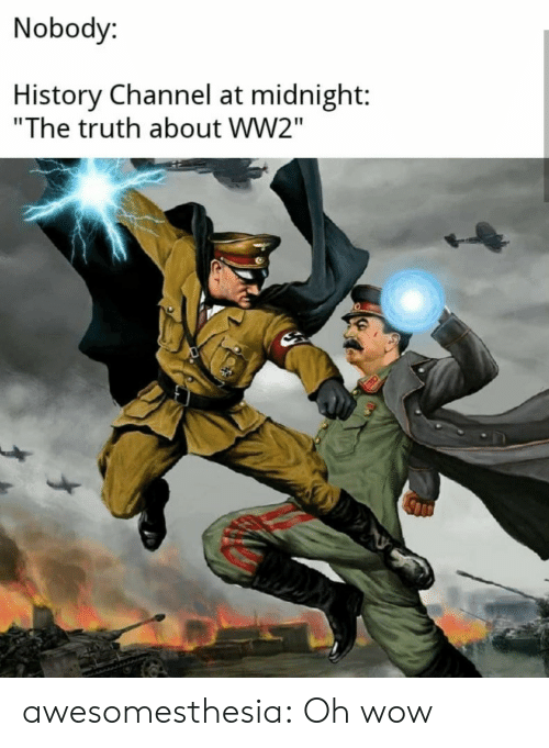"history channel: Nobody:  History Channel at midnight:  ""The truth about WW2"" awesomesthesia:  Oh wow"