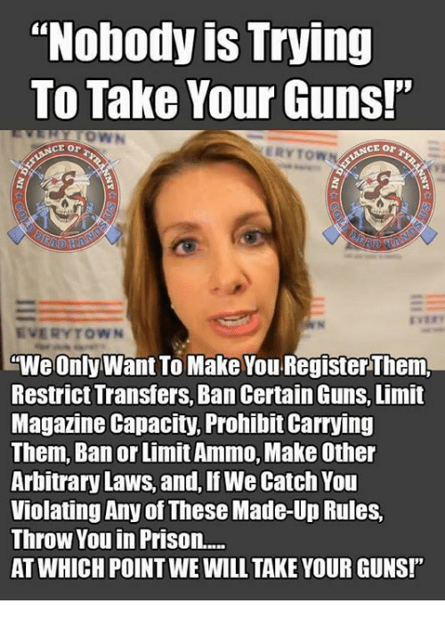 "Guns, Memes, and Prison: ""Nobody is Trying  To Take Your Guns!""  ERYTOWN  EVERYTOWN  ""We Only Want To Make You Register Them,  Restrict Transfers, Ban Certain Guns, Limit  Magazine Capacity, Prohibit Carrying  Them, Ban or Limit Ammo, Make Other  Arbitrary Laws, and, If We Catch You  Violating Any of These Made-Up Rules,  Throw You in Prison....  AT WHICH POINT WE WILL TAKE YOUR GUNS!"""