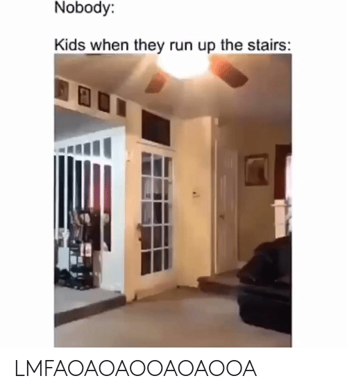 Run, Kids, and They: Nobody:  Kids when they run up the stairs: LMFAOAOAOOAOAOOA
