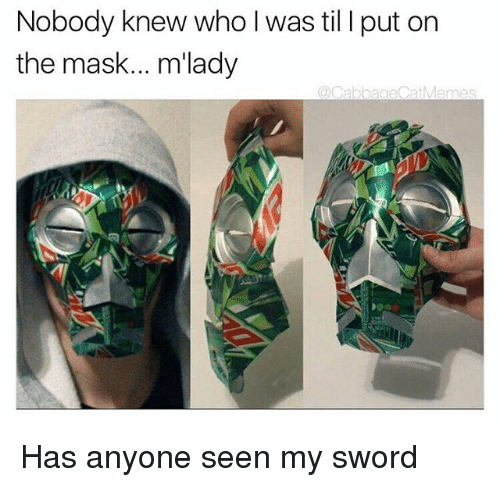 The Mask, Dank Memes, and Mask: Nobody knew who l was til I put on  the mask... m'lady  @CabbageCatMemes Has anyone seen my sword