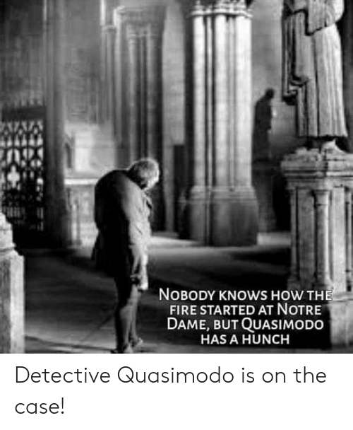 Fire, Notre Dame, and How: NOBODY KNOWS HOW THE  FIRE STARTED AT NOTRE  DAME, BUT QUASIMODO  HAS A HUNCH Detective Quasimodo is on the case!