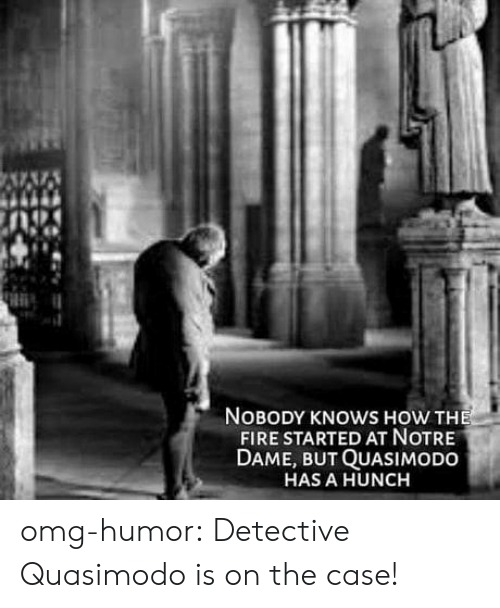 Fire, Omg, and Tumblr: NOBODY KNOWS HOW THE  FIRE STARTED AT NOTRE  DAME, BUT QUASIMODO  HAS A HUNCH omg-humor:  Detective Quasimodo is on the case!