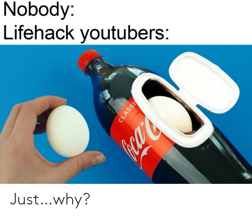 Why, Just, and Youtubers: Nobody:  Lifehack youtubers:  CLASSI Just…why?