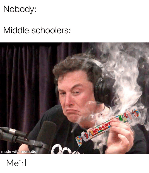 MeIRL, Smart, and Made: Nobody:  Middle schoolers:  SMART  made with mematic Meirl