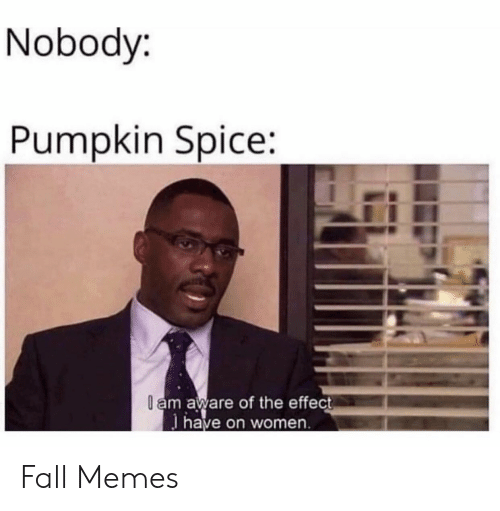 Fall Memes: Nobody:  Pumpkin Spice:  l am aware of the effect  have on women Fall Memes