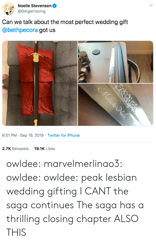 Peak: Noelle Stevenson  @Gingerhazing  Can we talk about the most perfect wedding gift  @bethpecora got us  6:51 PM Sep 19, 2019 Twitter for iPhone  19.1K Likes  2.7K Retweets  Mally & Nalls owldee: marvelmerlinao3:  owldee:  owldee: peak lesbian wedding gifting I CANT the saga continues   The saga has a thrilling closing chapter   ALSO THIS