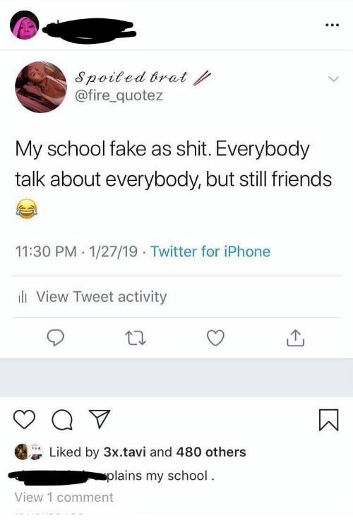 Still Friends: noited brat  @fire_quotez  My school fake as shit. Everybody  talk about everybody, but still friends  11:30 PM.1/27/19 Twitter for iPhone  li View Tweet activity  Liked by 3x.tavi and 480 others  plains my school.  View 1 comment