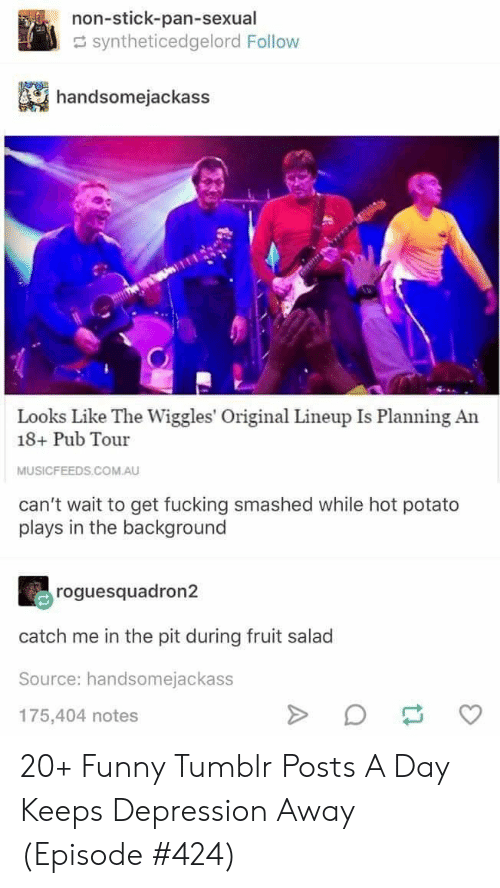 Fucking, Funny, and Tumblr: non-stick-pan-sexual  syntheticedgelord Follow  handsomejackass  Looks Like The Wiggles' Original Lineup Is Planning An  18+ Pub Tour  MUSICFEEDS.COM.AU  can't wait to get fucking smashed while hot potato  plays in the background  roguesquadron2  catch me in the pit during fruit salad  Source: handsomejackass  175,404 notes  A 20+ Funny Tumblr Posts A Day Keeps Depression Away (Episode #424)
