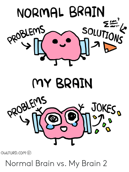 Saed: NORMAL BRAIN  SOLUTIONS  PROBLEMS  MY BRAIN  JOKESo  PROBLEMS SA  OWLTURD.Com Normal Brain vs. My Brain 2