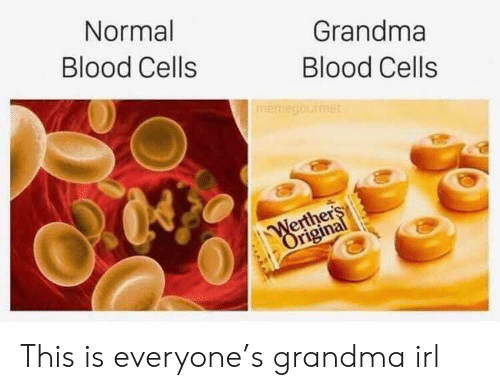 Grandma, Irl, and Blood: Normal  Grandma  Blood Cells  Blood Cells  memegourmet  Werthers  Original This is everyone's grandma irl