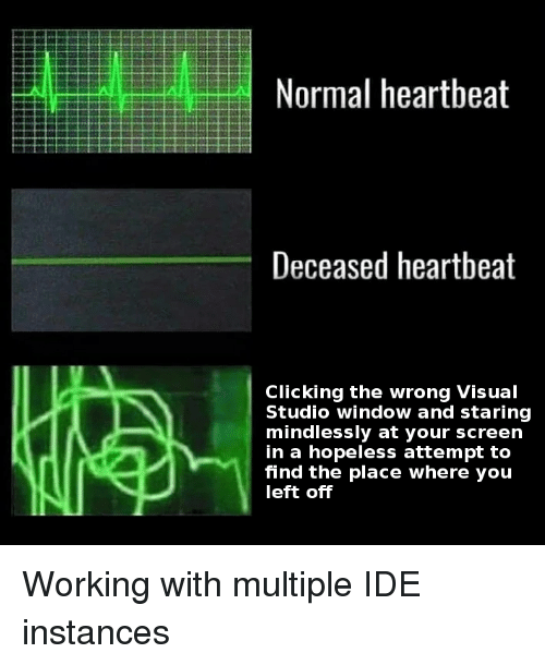 Visual Studio, Working, and Ide: Normal heartbeat  Deceased heartbeat  Clicking the wrong Visual  Studio window and staring  mindlessly at your screen  in a hopeless attempt to  find the place where you  left off Working with multiple IDE instances