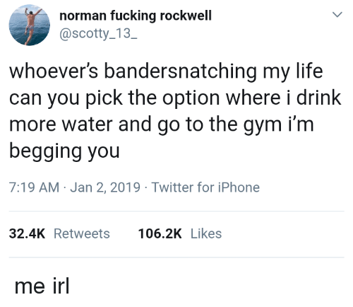 Fucking, Gym, and Iphone: norman fucking rockwell  @scotty 13  SC  whoever's bandersnatching my life  can you pick the option where i drink  more water and go to the gym i'm  begging you  7:19 AM-Jan 2, 2019 Twitter for iPhone  32.4KRetweets 106.2K Likes me irl