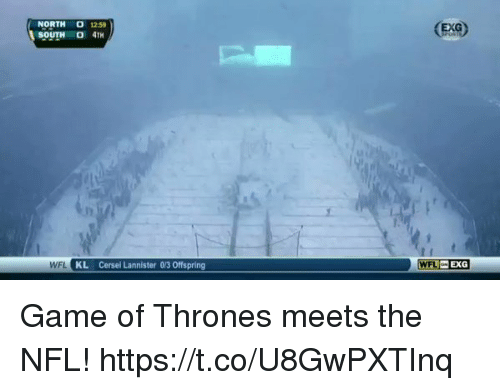 oed: NORTH 1259  SOUTH O 4TH  EXG  WFL KL Cersei Lannister 0/3 Offspring  WFL EXG Game of Thrones meets the NFL! https://t.co/U8GwPXTInq
