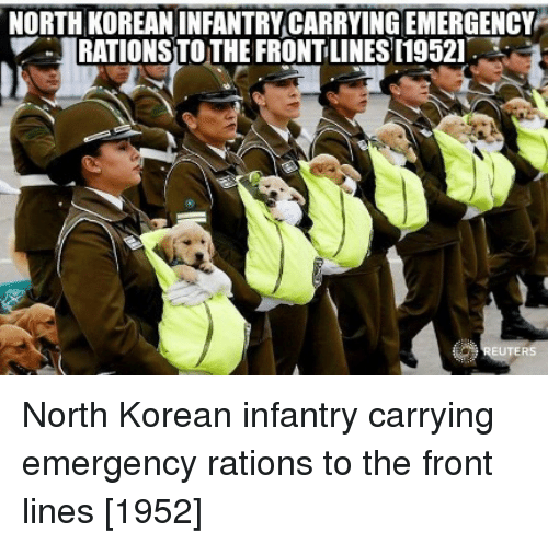 Korean, Emergency, and Infantry: NORTH KOREAN INFANTRY CARRYING EMERGENCY  RATIONS TOTHE FRONT LINES [19521 North Korean infantry carrying emergency rations to the front lines [1952]