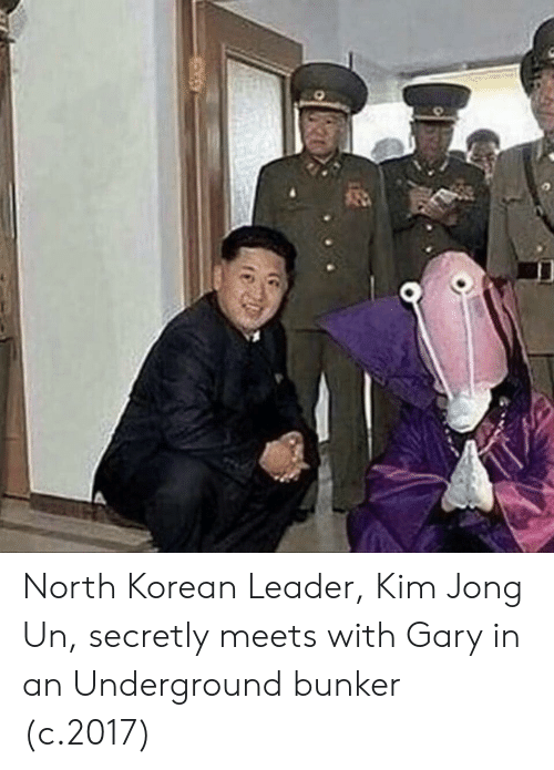 Kim Jong-Un, Korean, and Kim: North Korean Leader, Kim Jong Un, secretly meets with Gary in an Underground bunker (c.2017)