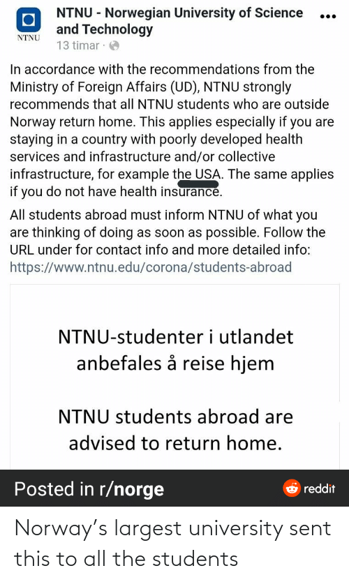 university: Norway's largest university sent this to all the students