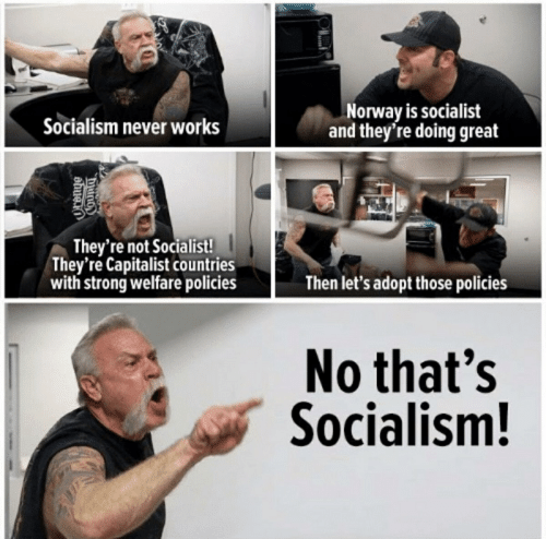 Norway, Socialism, and Capitalist: Norway is socialist  and they're doing great  Socialism never works  They're not Socialist!  They're Capitalist countries  with strong welfare policies  Then let's adopt those policies  No that's  Socialism!  dhug.i0  County
