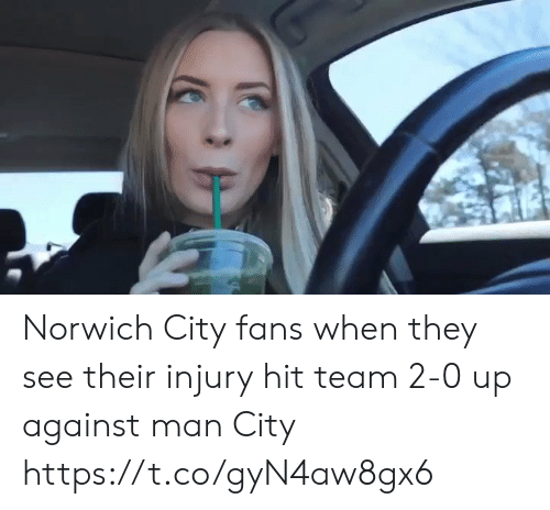 Memes, 🤖, and Man City: Norwich City fans when they see their injury hit team 2-0 up against man City  https://t.co/gyN4aw8gx6