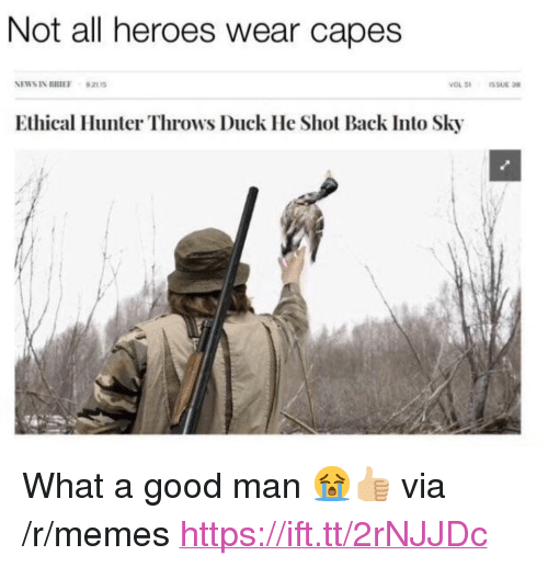 """Memes, News, and Duck: Not all heroes wear capes  NEWS IN BRIEF 92115  Ethical Hunter Throws Duck He Shot Back Into Sky <p>What a good man 😭👍🏼 via /r/memes <a href=""""https://ift.tt/2rNJJDc"""">https://ift.tt/2rNJJDc</a></p>"""