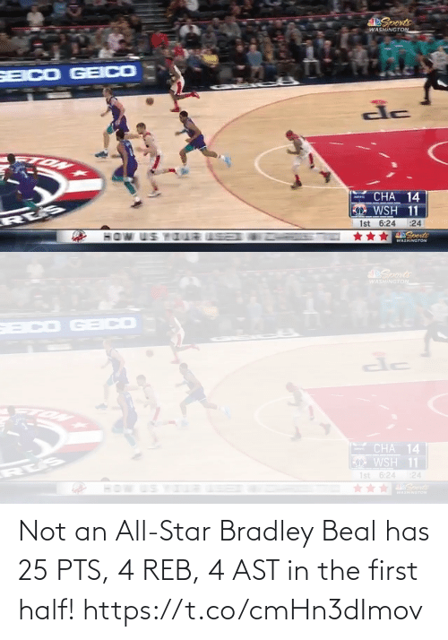 Star: Not an All-Star Bradley Beal has 25 PTS, 4 REB, 4 AST in the first half!  https://t.co/cmHn3dImov